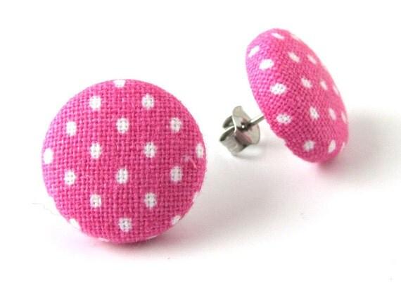 Pink stud earrings - pink button earrings - pink fabric earrings - white polka dots