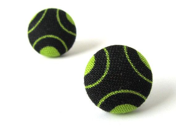 Black green button earrings - fabric covered studs - funky cyber circles geometry