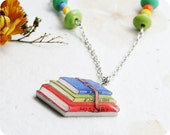 """ON SALE 20% OFF Necklace """"School books"""" - collection Journalism - ooak - ready to ship - gift"""