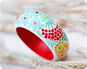 Guelder Rose bracelet. Hand Painted Jewelry. Flowers Bangle Bracelet. Floral fashion. Bright colors. Average wood bracelet