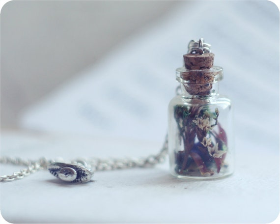 """ON SALE 20% Off OOAK Pendant bottle """"Herbarium"""" - silver plated - ready to ship - fashion designer"""