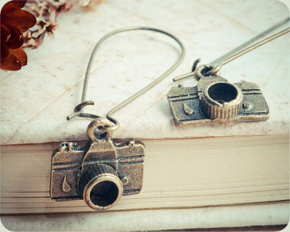 "ON SALE 20% OFF Earrings ""Photo camera"" - collection Journalism - ready to ship"