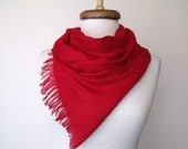 Sale...Sale...Red Pashmina Scarf Shawl Neckwarmer With Flower Brooch-Ready For Shipping-For CRISTMAS