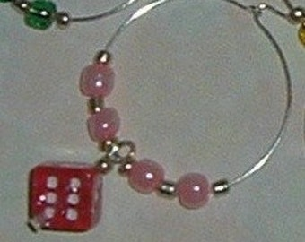 12 Pink Dice Wine Glass Charms - Hot Pink Glitter Dice - Bunco, Bunko, Casino, Poker