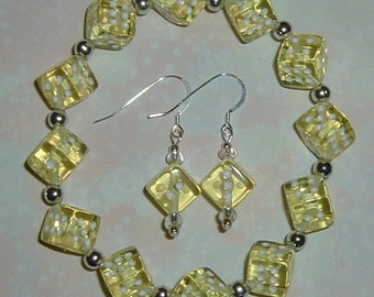 Yellow Dice Jewelry Set - Bracelet & Earrings- Bunco, Bunko, Casino, Poker party gift