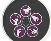 Instant download,free shipping,Counted Cross stitch pattern,Cross-Stitch PDF,Rock, Paper, Scissors, Lizard, Spock, zxxc0173