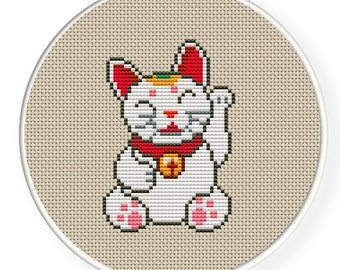 Instant Download,Free shipping ,Cross stitch pattern, PDF,Fortune Cat,ZXXC0098