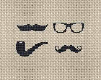 INSTANT DOWNLOAD,Free shipping,Cross stitch pattern, Cross-StitchPDF, pattern design ,Happy father's day ,glasses,beards,pipe,zxxc0223