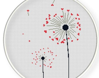 INSTANT DOWNLOAD,Free shipping,Cross stitch pattern, PDF,heart dandelion,ZXXC0276
