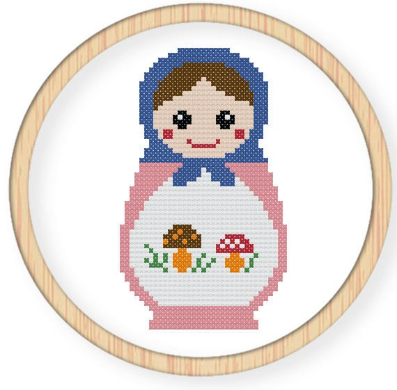 Instant download,free shipping,Cross stitch pattern, Cross-StitchPDF,Russian Doll,Matryoshka  Babushkas,zxxc0009