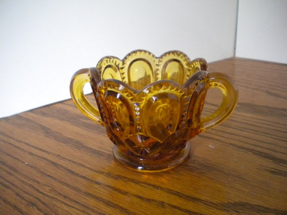 ON SALE Vintage L G Wright Moon and Star Pattern Sugar Bowl Amber Color