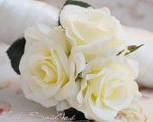 Wedding Corsage - Silk Ivory Rose Pin Corsage
