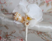 White Orchid Seashell Boutonniere