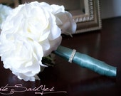 Ivory Rose Silk Bridal Bouquet with Aqua Satin and Rhinestone Wrap