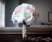 Wedding Bouquet White and Pink Burlap Rose Silk Wedding Bouquet Rustic Shabby Chic Bridal Bouquet