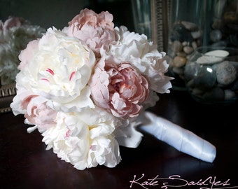 Wedding Bouquet Peony Bouquet Ivory and Blush Pink Peony Silk Bridal Wedding Bouquet