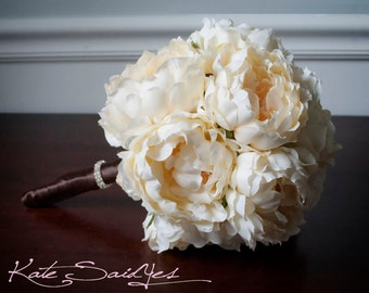 Silk Wedding Bouquet - Creamy Yellow Peony Silk Bridal Wedding Bouquet with Rhinestones