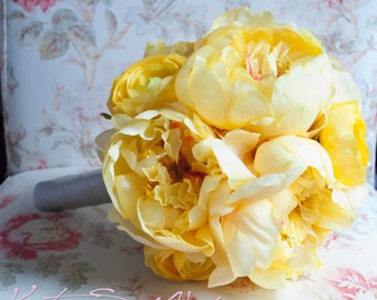 Wedding Bouquet Yellow Peony Wedding Bouquet - Yellow Peony and Ranunculus Bridal Bouquet