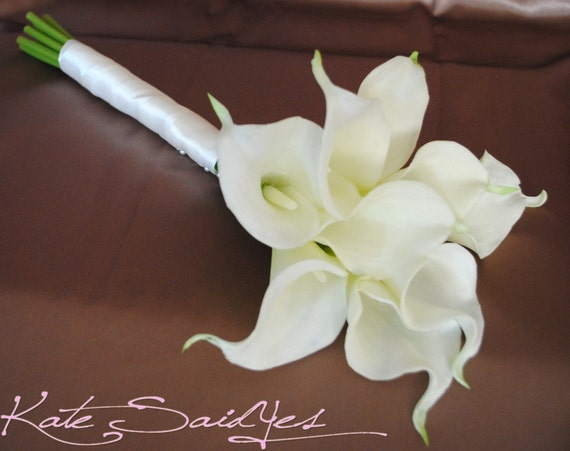 Cream calla lily real touch wedding bouquet junglespirit Images