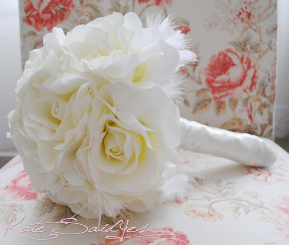 Wedding Bouquet Ivory Rose Silk Wedding Bouquet with Feather Accents