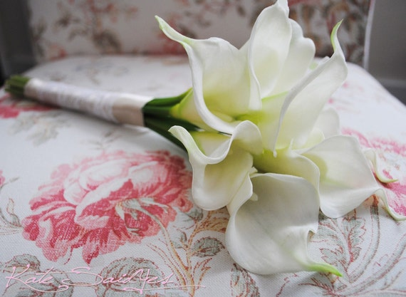 Cream Calla Lily Bridal Bouquet : Champagne lace and pearl cream calla lily real touch wedding
