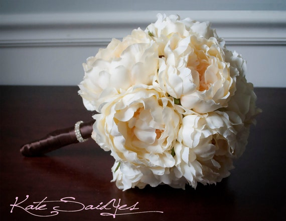 Silk Wedding Bouquet - Creamy Yellow Peony Silk Bridal Wedding Bouquet with Rhinestones
