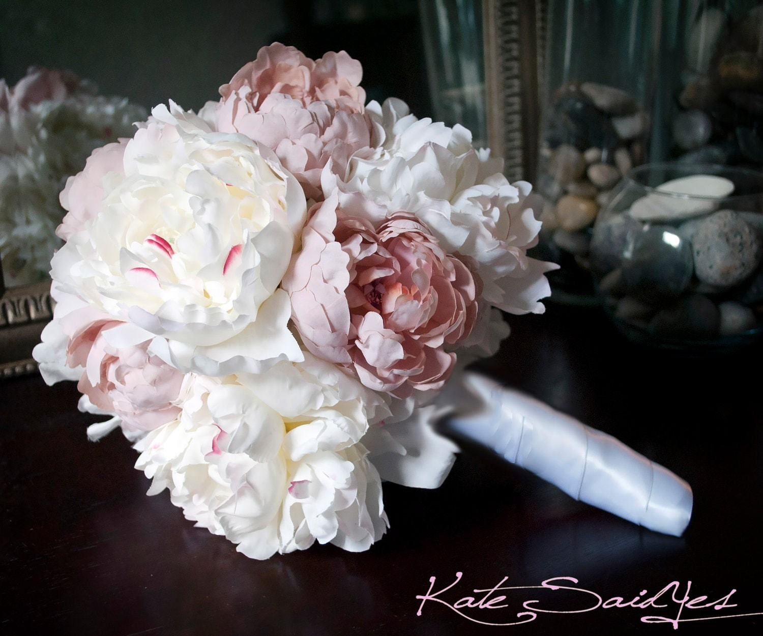 Wedding bouquet peony bouquet ivory and blush pink peony silk zoom dhlflorist Images