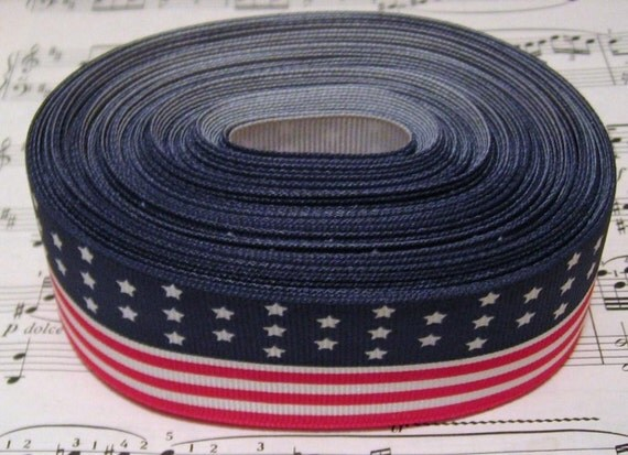 FREE SHIPPING -38mm 1/7/8 inches 5 Yards US Flag, American Flag, Stars and Stripes Grosgrain Ribbon