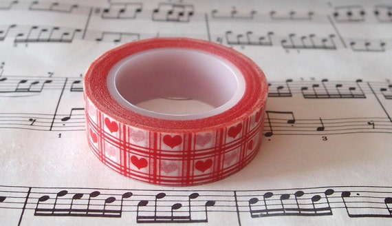 Japanese Washi Masking Tape. mt masking tape, pretty washi tape,Red Gingham Grid Hearts