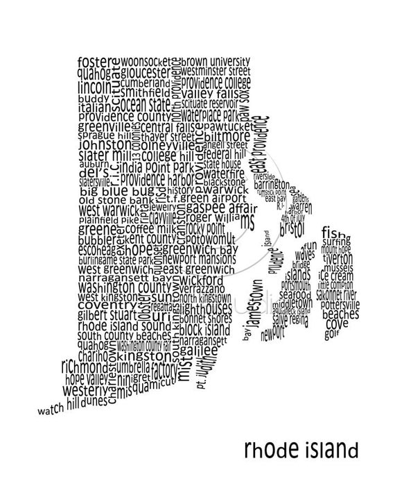"8""x10"" Word Art Print - Rhode Island Map"