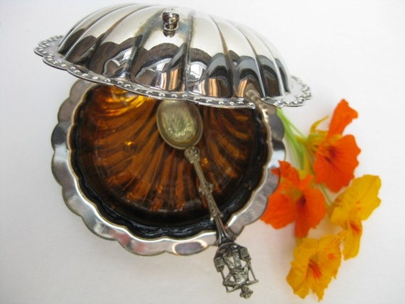 Vintage Silver garnish Dish with Amber glass insert 5x5 inch