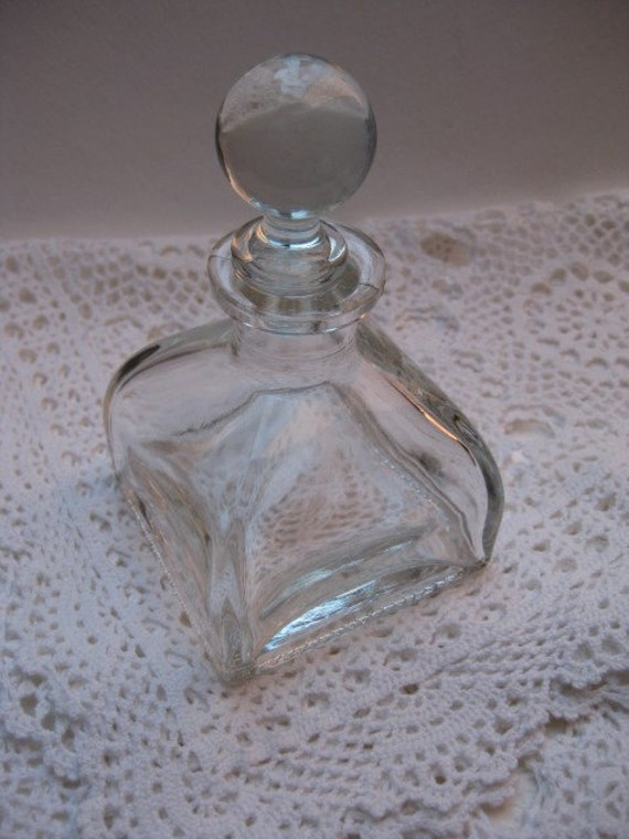 Vintage Bottle Clear Glass Square Base Love By Twovintageavenue