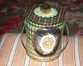 ON SALE Vintage Murray Allen Candy Tin With Knobbed Lid and Carrying Handle Art Deco Design England