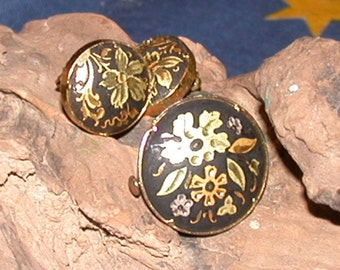 Vintage DAMASCENE Basalt and Gold Pin and Earrings Set Flowers