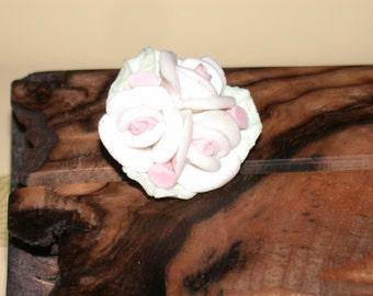Vintage Pastel Flower Pin Paste Porcelain