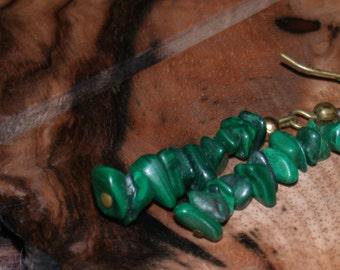 Vintage Green Malachite Stone Dangly Earrings Drop Earrings