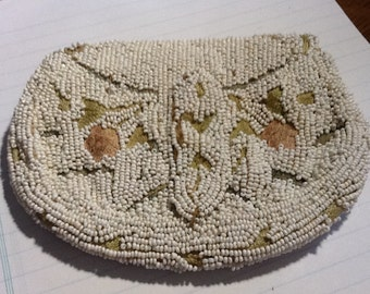 Vintage White Beaded Formal Bag with Pastel Crewel Embroidered Flowers Belgium