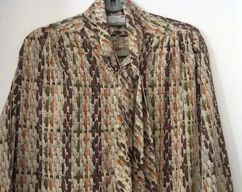 Vintage Serin Petite Dress Basketweave Print Tan Brown Sage Green