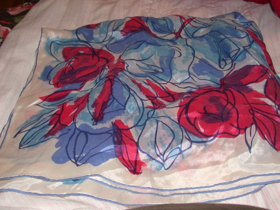 Vintage Huge Square Silk Scarf Pretty Flowers Pink Blue White
