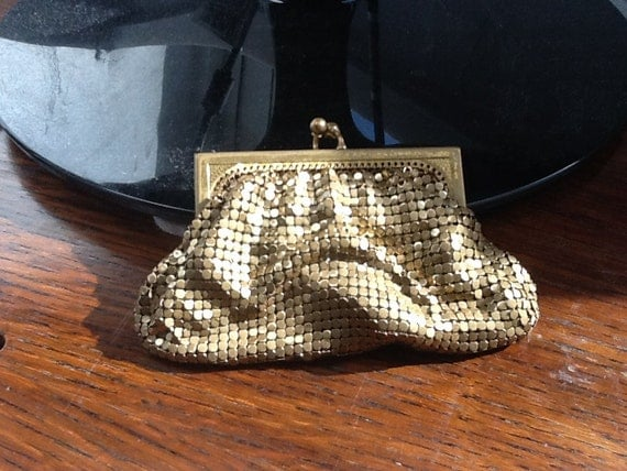 ON SALE Vintage Whiting and Davis Gold Mesh Formal Change Purse
