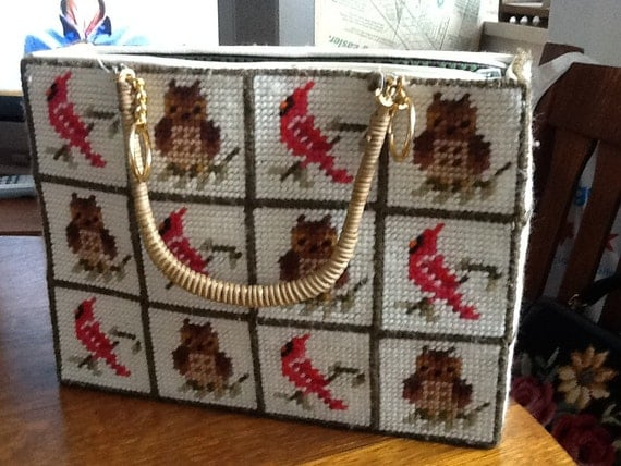 ON RESERVE Vintage OWLS and Cardinals Needlepoint Purse Tote Great for Beach Vacation