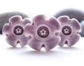 Three Handmade Plum Purple Glazed Porcelain Buttons