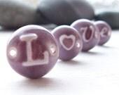 Beads 4 Porcelain Purple Plum Glazed Love Beads.