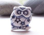 Owl Brooch Pin Porcelain Sleeping Owl Glazed Pale Blue