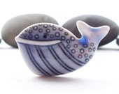 Whale Pin Brooch Pale Blue Glazed Handcrafted Porcelain