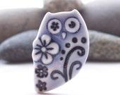 Owl Brooch Pin Pale Blue Flower Owl Handmade Porcelain