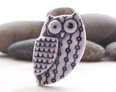 Owl Pin Brooch Handmade Porcelain Pale Blue Glazed