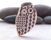 Owl Pin Brooch Handmade Porcelain Natural stain Un Glazed