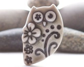 Owl Brooch Pin Warm Grey Glazed Handmade Porcelain