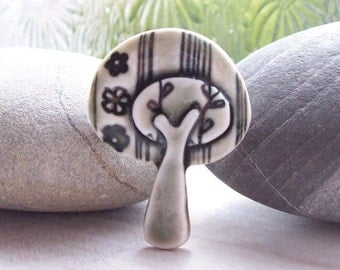 Tree Pin Brooch Porcelain Tree with Flowers and Stripes Glazed Warm Slate Grey Handmade Ceramic Tree Brooch